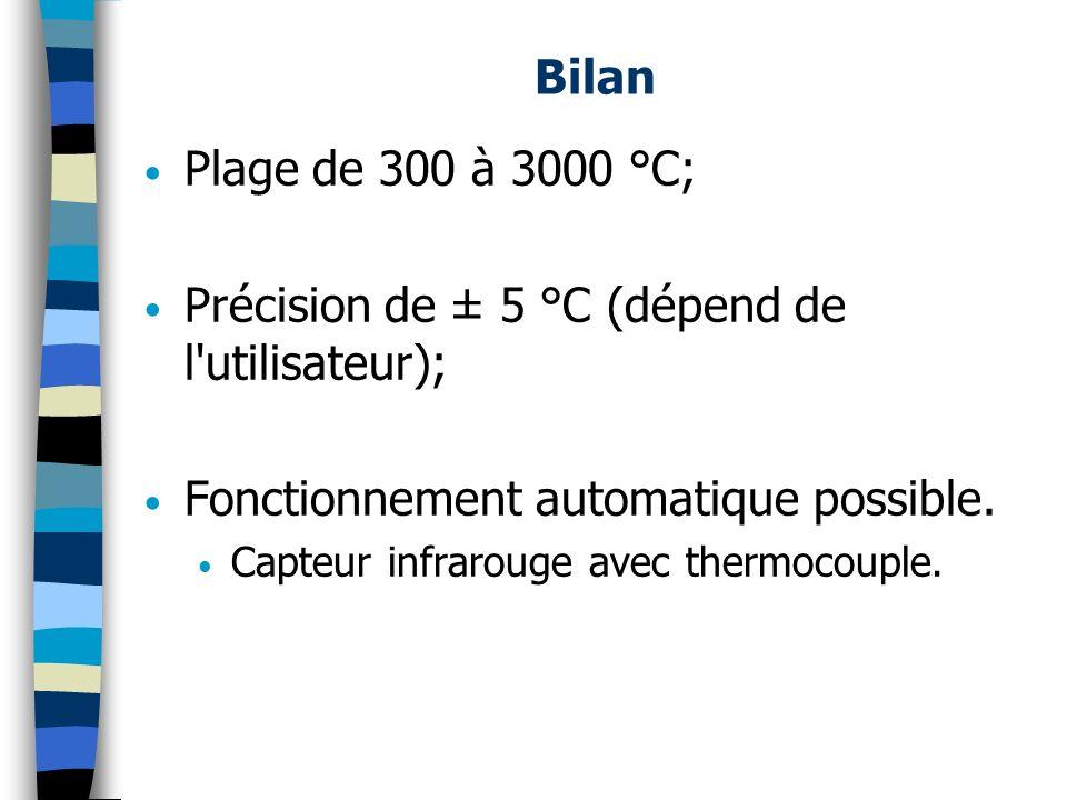 Bilan Plage de 300 à 3000 °C; Précision de ± 5 °C (dépend de l'utilisateur); Fonctionnement automatique possible. Capteur infrarouge avec thermocouple