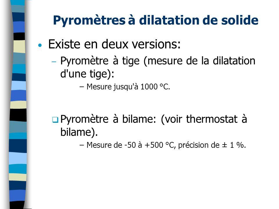 Pyromètres à dilatation de solide Existe en deux versions: – Pyromètre à tige (mesure de la dilatation d'une tige): –Mesure jusqu'à 1000 °C. Pyromètre