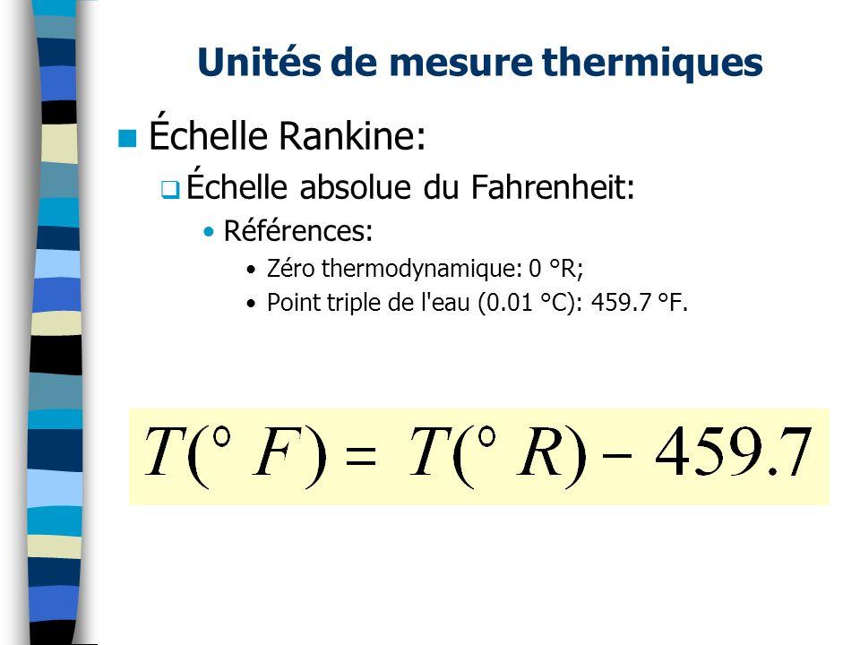 Unités de mesure thermiques Échelle Rankine: Échelle absolue du Fahrenheit: Références: Zéro thermodynamique: 0 °R; Point triple de l'eau (0.01 °C): 4