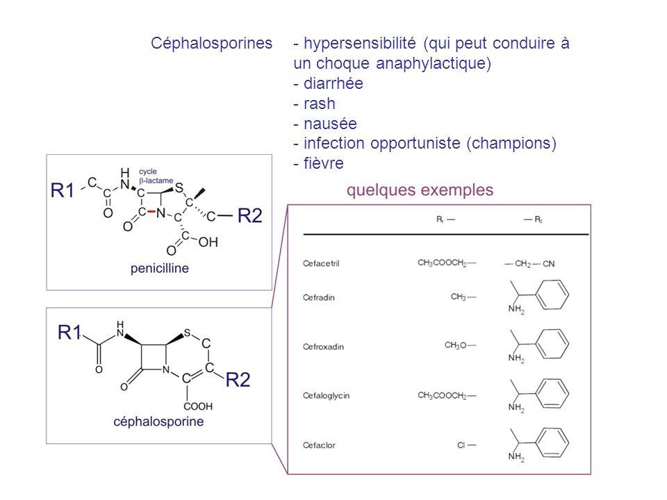 - hypersensibilité (qui peut conduire à un choque anaphylactique) - diarrhée - rash - nausée - infection opportuniste (champions) - fièvre Céphalospor