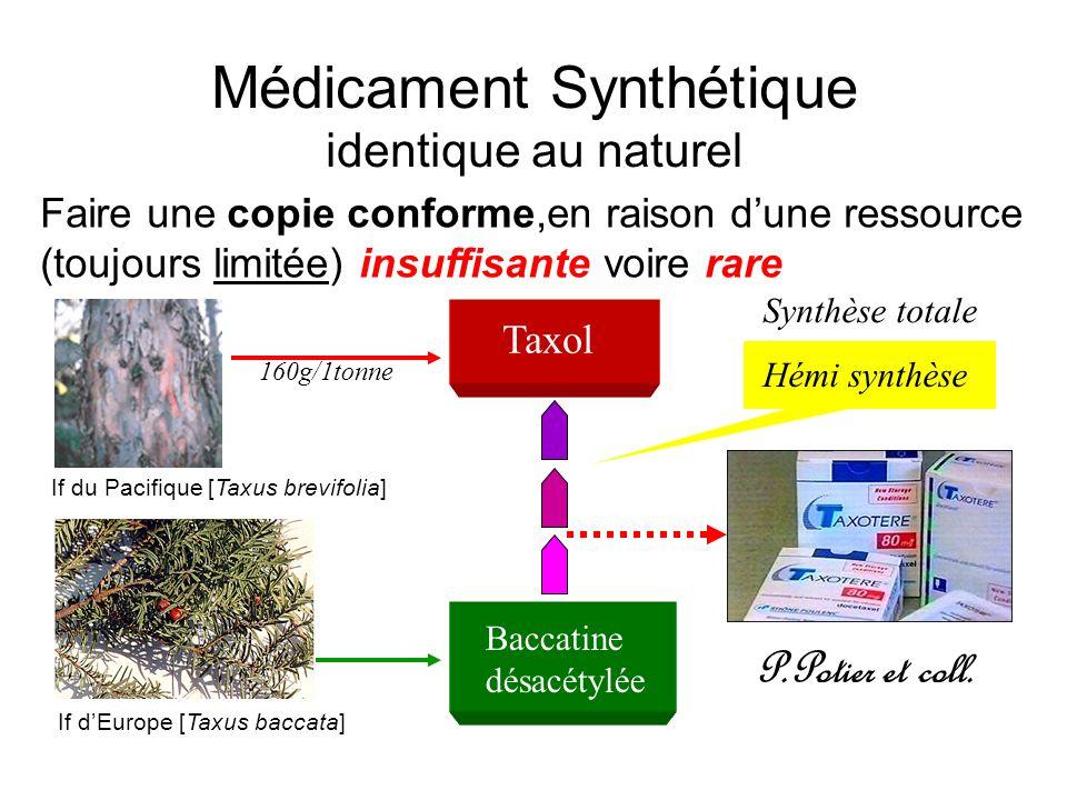 Médicament Synthétique identique au naturel Faire une copie conforme,en raison dune ressource (toujours limitée) insuffisante voire rare If du Pacifiq