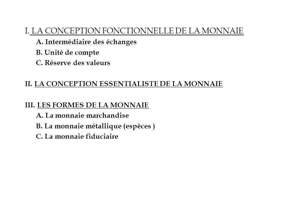 I. LA CONCEPTION FONCTIONNELLE DE LA MONNAIE A. Intermédiaire des échanges B. Unité de compte C. Réserve des valeurs II. LA CONCEPTION ESSENTIALISTE D
