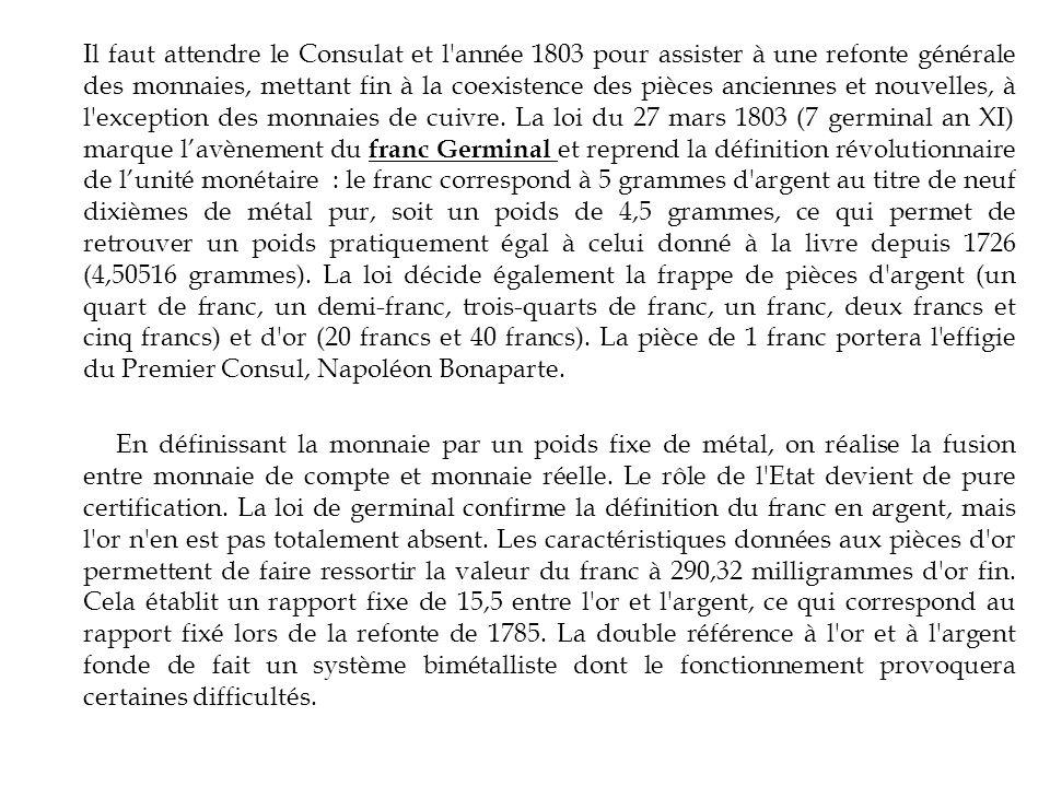 Il faut attendre le Consulat et l'année 1803 pour assister à une refonte générale des monnaies, mettant fin à la coexistence des pièces anciennes et n
