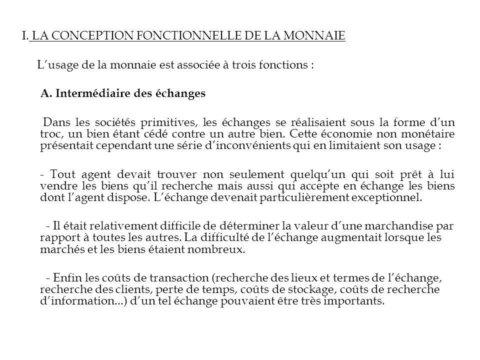 I. LA CONCEPTION FONCTIONNELLE DE LA MONNAIE Lusage de la monnaie est associée à trois fonctions : A. Intermédiaire des échanges Dans les sociétés pri