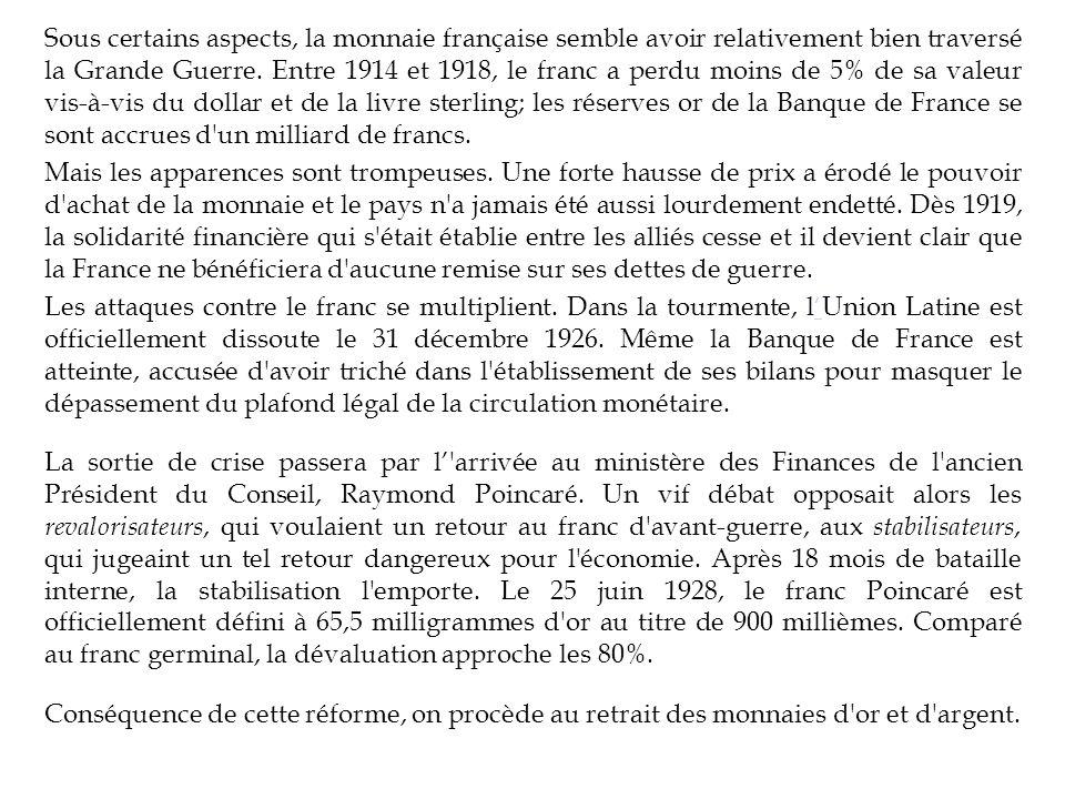 Sous certains aspects, la monnaie française semble avoir relativement bien traversé la Grande Guerre.