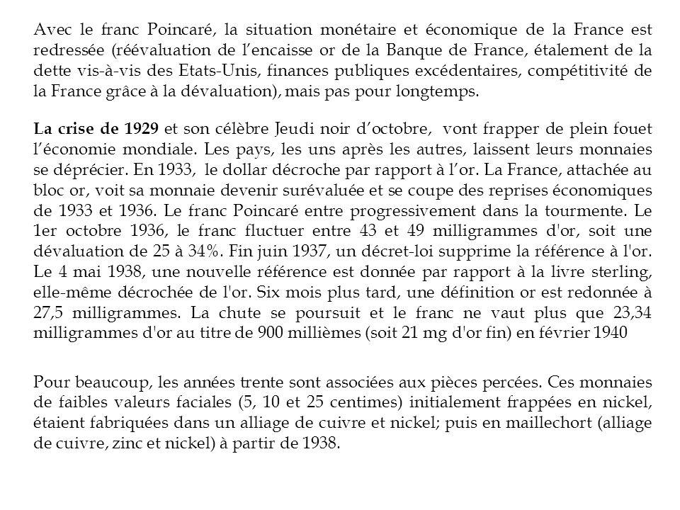 Avec le franc Poincaré, la situation monétaire et économique de la France est redressée (réévaluation de lencaisse or de la Banque de France, étalement de la dette vis-à-vis des Etats-Unis, finances publiques excédentaires, compétitivité de la France grâce à la dévaluation), mais pas pour longtemps.