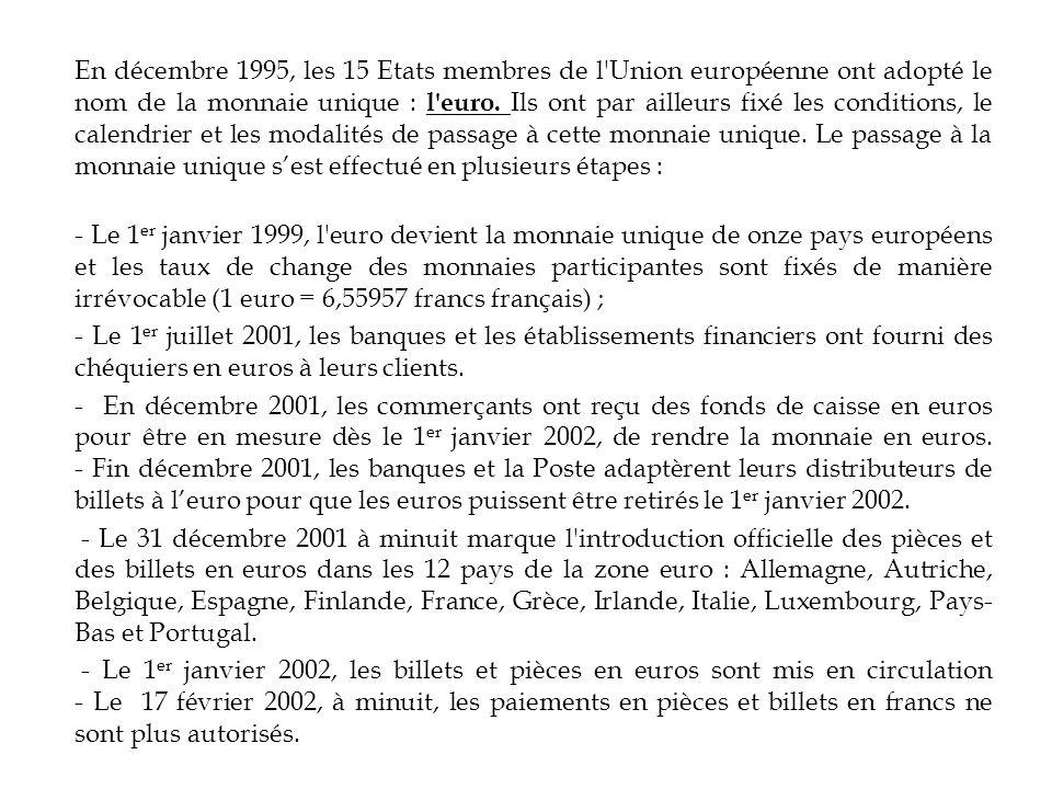 En décembre 1995, les 15 Etats membres de l'Union européenne ont adopté le nom de la monnaie unique : l'euro. Ils ont par ailleurs fixé les conditions