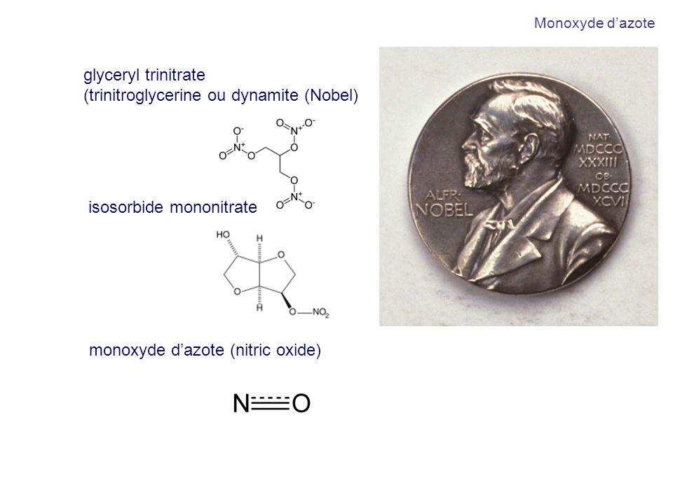 monoxyde dazote (nitric oxide) glyceryl trinitrate (trinitroglycerine ou dynamite (Nobel) isosorbide mononitrate Monoxyde dazote