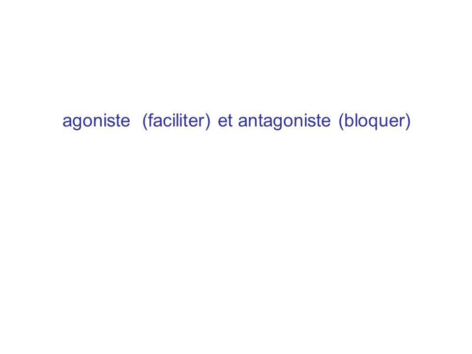 agoniste (faciliter) et antagoniste (bloquer)
