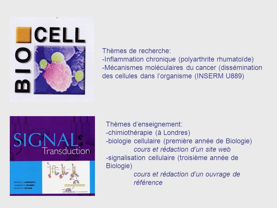 Thèmes de recherche: -Inflammation chronique (polyarthrite rhumatoïde) -Mécanismes moléculaires du cancer (dissémination des cellules dans lorganisme (INSERM U889) Thèmes denseignement: -chimiothérapie (à Londres) -biologie cellulaire (première année de Biologie) cours et rédaction dun site web -signalisation cellulaire (troisième année de Biologie) cours et rédaction dun ouvrage de référence