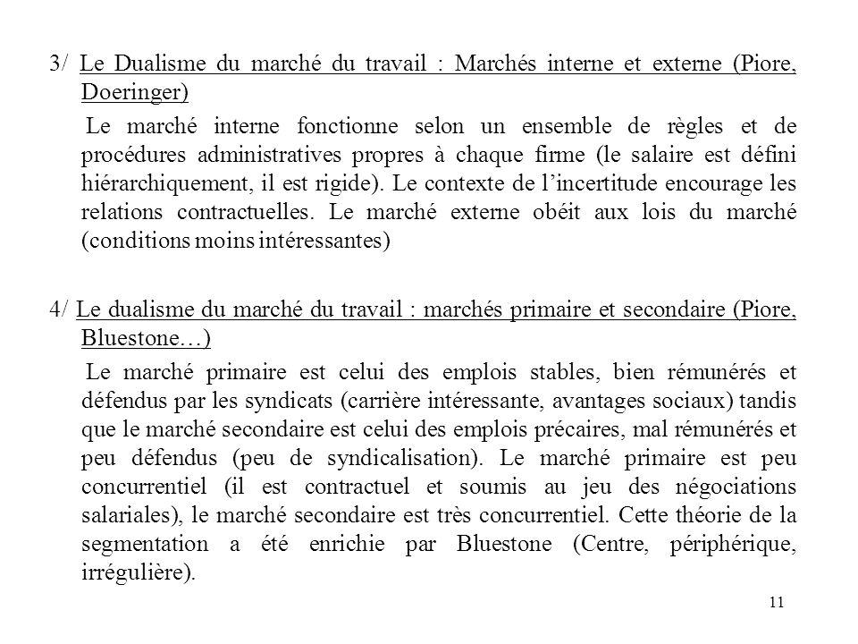 3/ Le Dualisme du marché du travail : Marchés interne et externe (Piore, Doeringer) Le marché interne fonctionne selon un ensemble de règles et de procédures administratives propres à chaque firme (le salaire est défini hiérarchiquement, il est rigide).