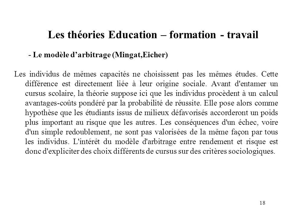 Les théories Education – formation - travail - Le modèle darbitrage (Mingat,Eicher) Les individus de mêmes capacités ne choisissent pas les mêmes études.