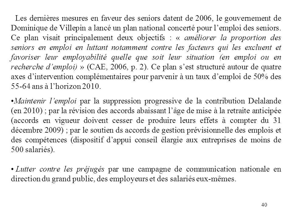 Les dernières mesures en faveur des seniors datent de 2006, le gouvernement de Dominique de Villepin a lancé un plan national concerté pour lemploi des seniors.