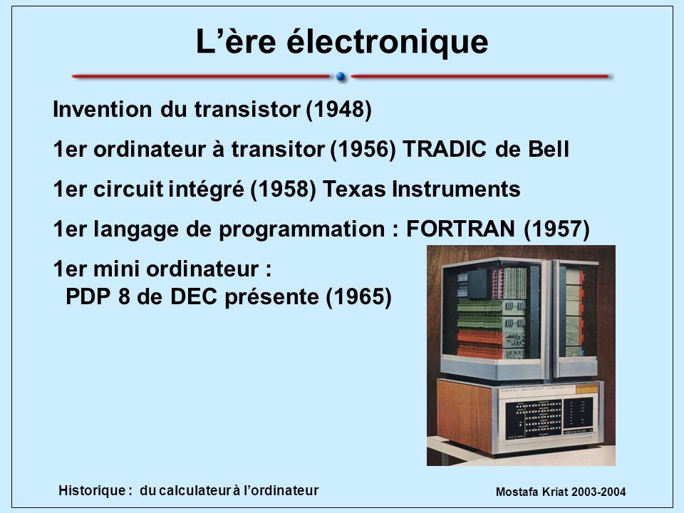 Mostafa Kriat 2003-2004 Historique : du calculateur à lordinateur Lère électronique Invention du transistor (1948) 1er circuit intégré (1958) Texas In