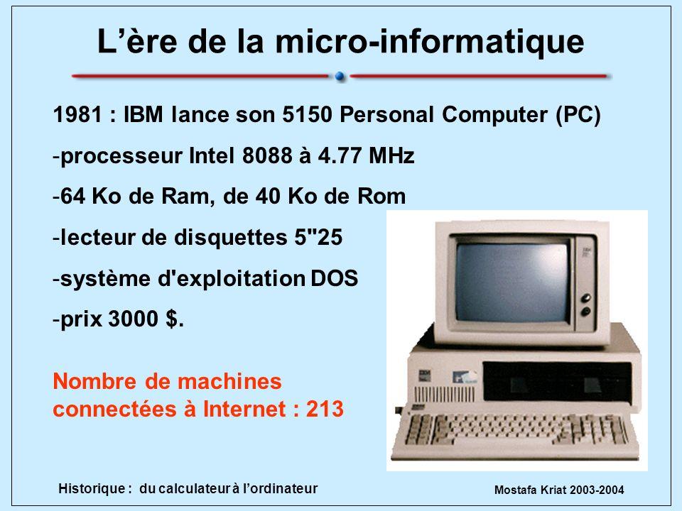 Mostafa Kriat 2003-2004 Historique : du calculateur à lordinateur Lère de la micro-informatique 1981 : IBM lance son 5150 Personal Computer (PC) -proc