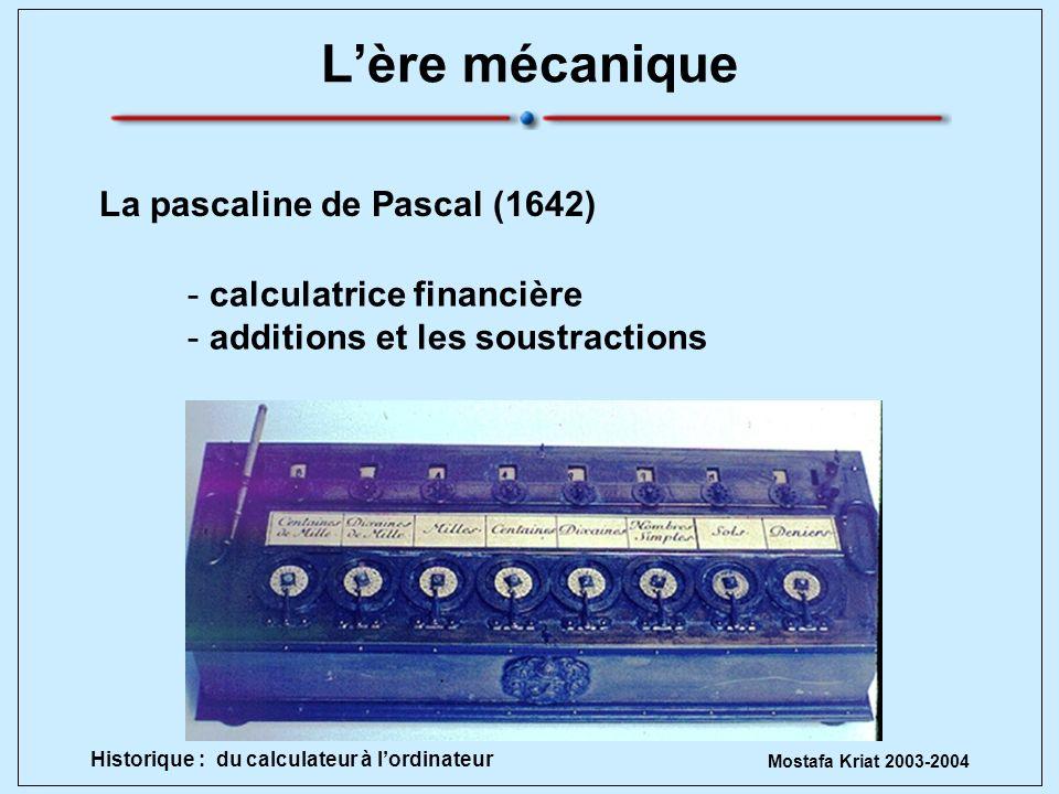 Mostafa Kriat 2003-2004 Historique : du calculateur à lordinateur Lère mécanique La pascaline de Pascal (1642) - calculatrice financière - additions e