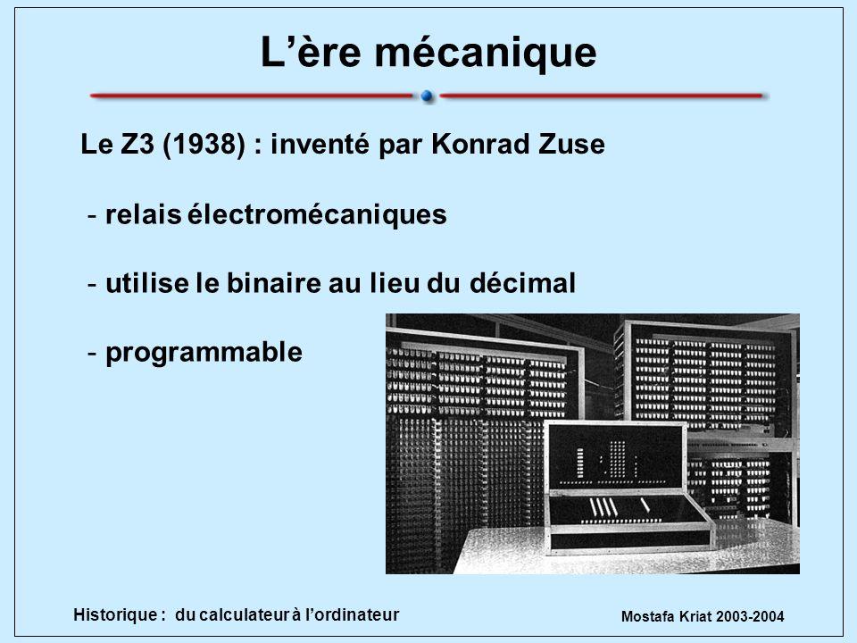 Mostafa Kriat 2003-2004 Historique : du calculateur à lordinateur Lère électrique -programmation manuelle -calcul balistique -30 tonnes -18 000 tubes à vides -occupe 1500 m 2 ENIAC par Eckert et Mauchly 1945 (Electronic Numerical Integrator and Computer)