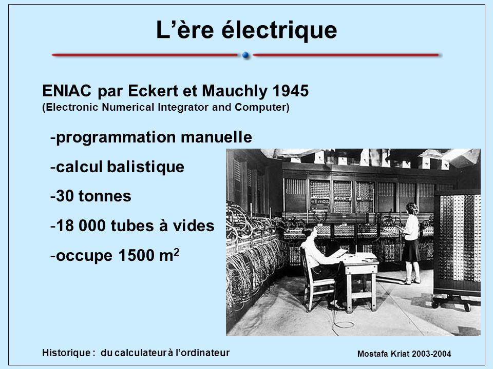 Mostafa Kriat 2003-2004 Historique : du calculateur à lordinateur Lère électrique -programmation manuelle -calcul balistique -30 tonnes -18 000 tubes