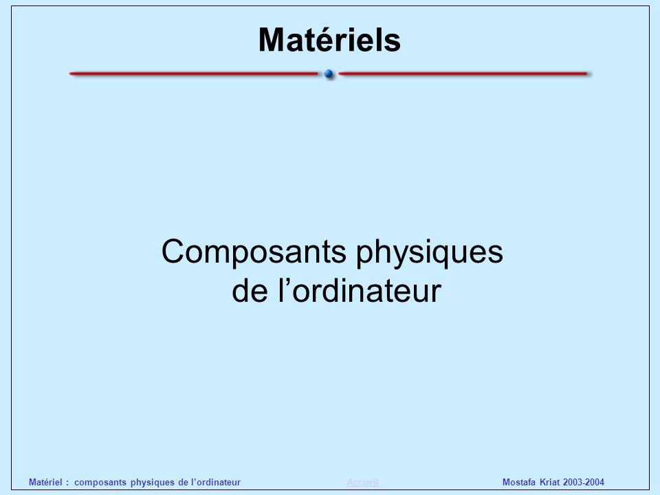 Mostafa Kriat 2003-2004Matériel : composants physiques de lordinateurAccueil Les catégories - Super-calculateurs (Cray, Nec) Le terme ordinateur regroupe des matériels de taille et de capacité différentes.