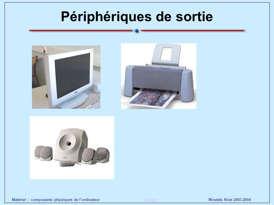 Mostafa Kriat 2003-2004Matériel : composants physiques de lordinateurAccueil Périphériques de sortie