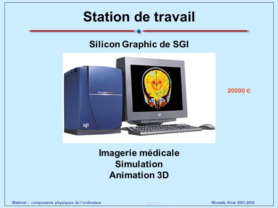 Mostafa Kriat 2003-2004Matériel : composants physiques de lordinateurAccueil Station de travail Silicon Graphic de SGI Imagerie médicale Simulation An