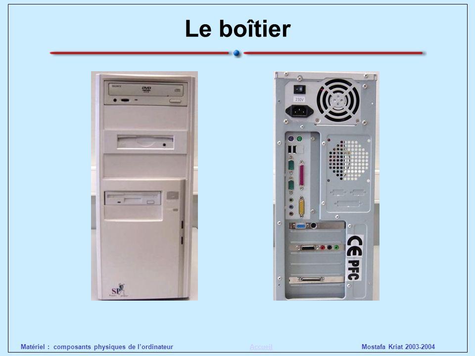 Mostafa Kriat 2003-2004Matériel : composants physiques de lordinateurAccueil Le boîtier Critères de choix : bruit, qualité et puissance alimentation, ergonomie