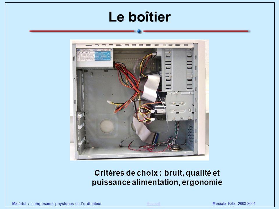Mostafa Kriat 2003-2004Matériel : composants physiques de lordinateurAccueil Le boîtier Critères de choix : bruit, qualité et puissance alimentation,