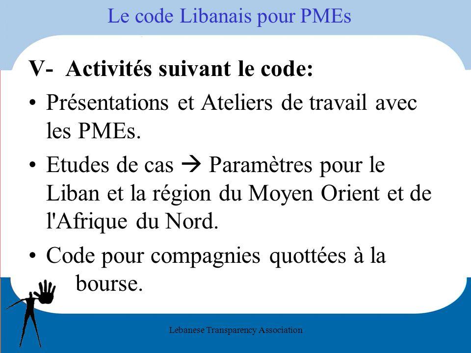 Lebanese Transparency Association Le code Libanais pour PMEs V- Activités suivant le code: Présentations et Ateliers de travail avec les PMEs. Etudes