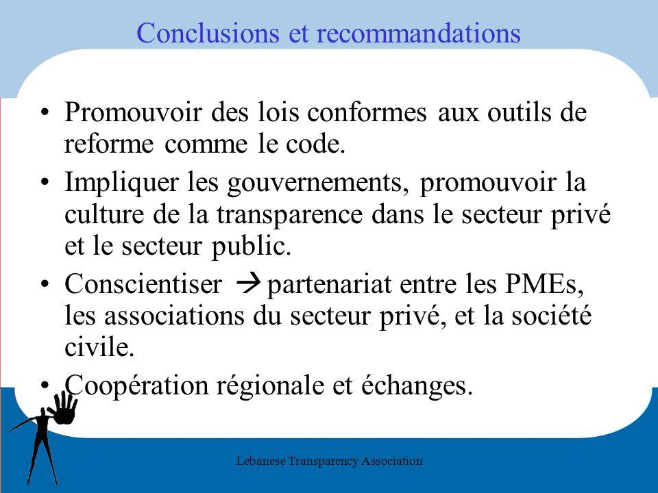 Lebanese Transparency Association Conclusions et recommandations Promouvoir des lois conformes aux outils de reforme comme le code. Impliquer les gouv