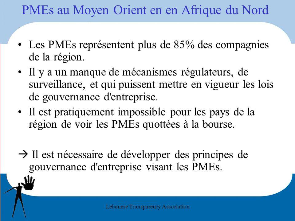 Lebanese Transparency Association PMEs au Moyen Orient en en Afrique du Nord Les PMEs représentent plus de 85% des compagnies de la région. Il y a un