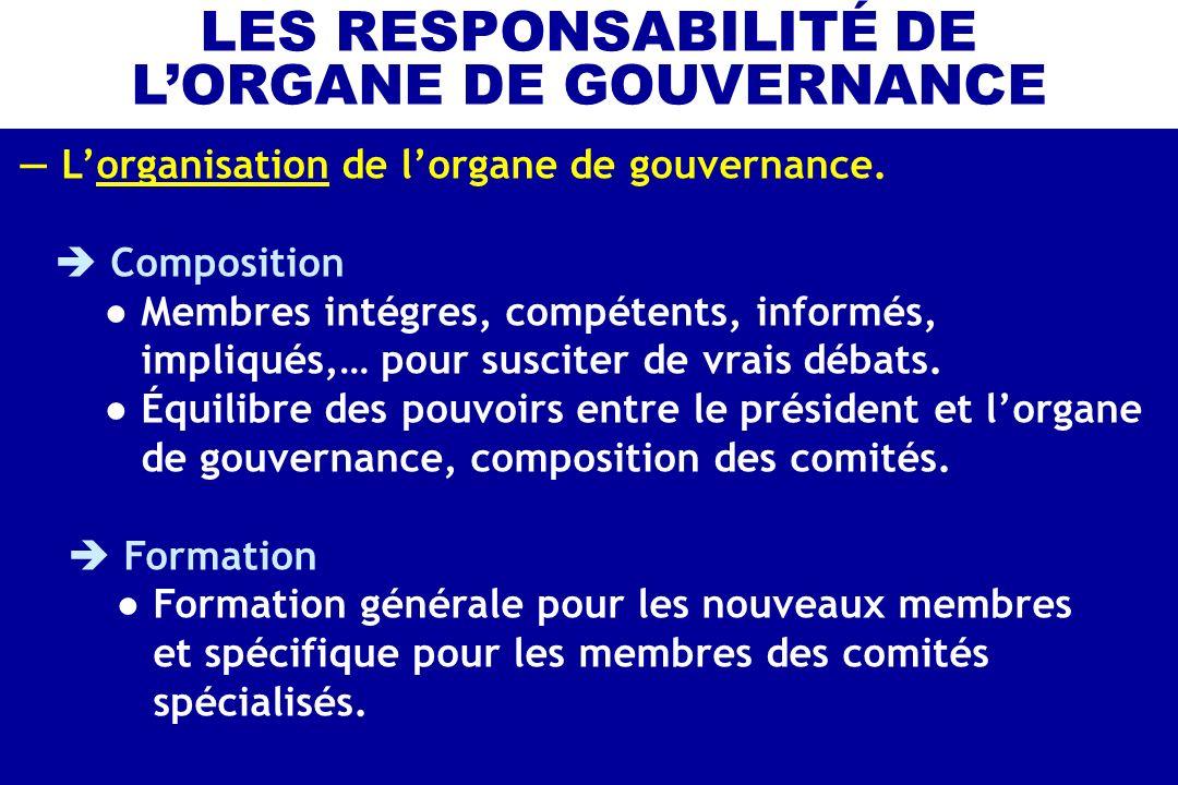 Lorganisation de lorgane de gouvernance. Composition Membres intégres, compétents, informés, impliqués,… pour susciter de vrais débats. Équilibre des