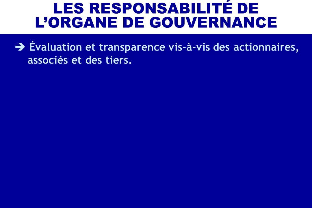 Évaluation et transparence vis-à-vis des actionnaires, associés et des tiers. LES RESPONSABILITÉ DE LORGANE DE GOUVERNANCE