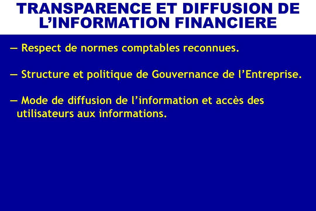 Respect de normes comptables reconnues. Structure et politique de Gouvernance de lEntreprise. Mode de diffusion de linformation et accès des utilisate