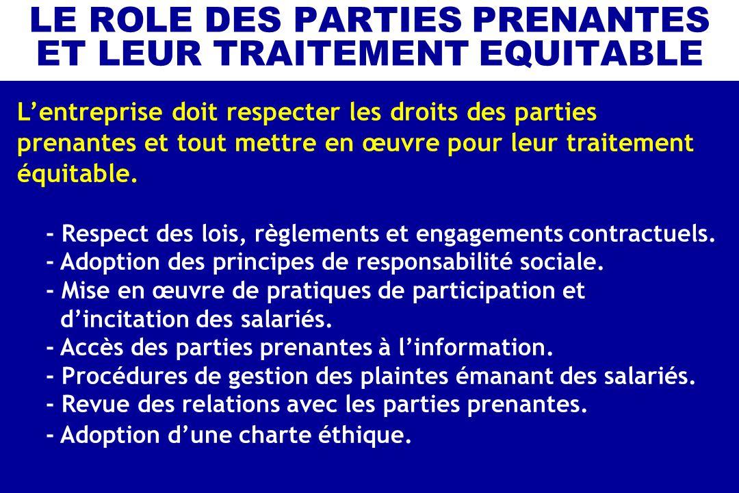 LE ROLE DES PARTIES PRENANTES ET LEUR TRAITEMENT EQUITABLE Lentreprise doit respecter les droits des parties prenantes et tout mettre en œuvre pour le