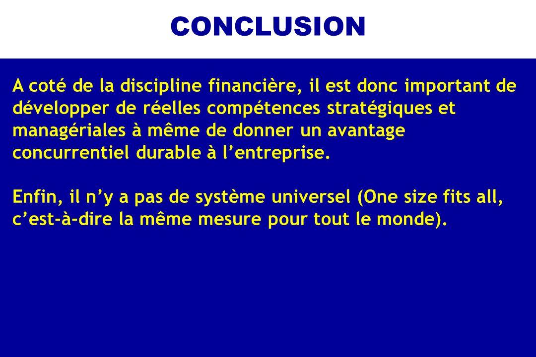 CONCLUSION A coté de la discipline financière, il est donc important de développer de réelles compétences stratégiques et managériales à même de donne