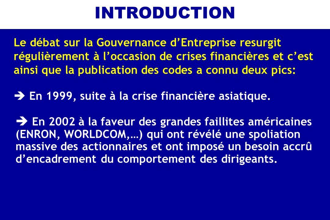 INTRODUCTION Le débat sur la Gouvernance dEntreprise resurgit régulièrement à loccasion de crises financières et cest ainsi que la publication des cod