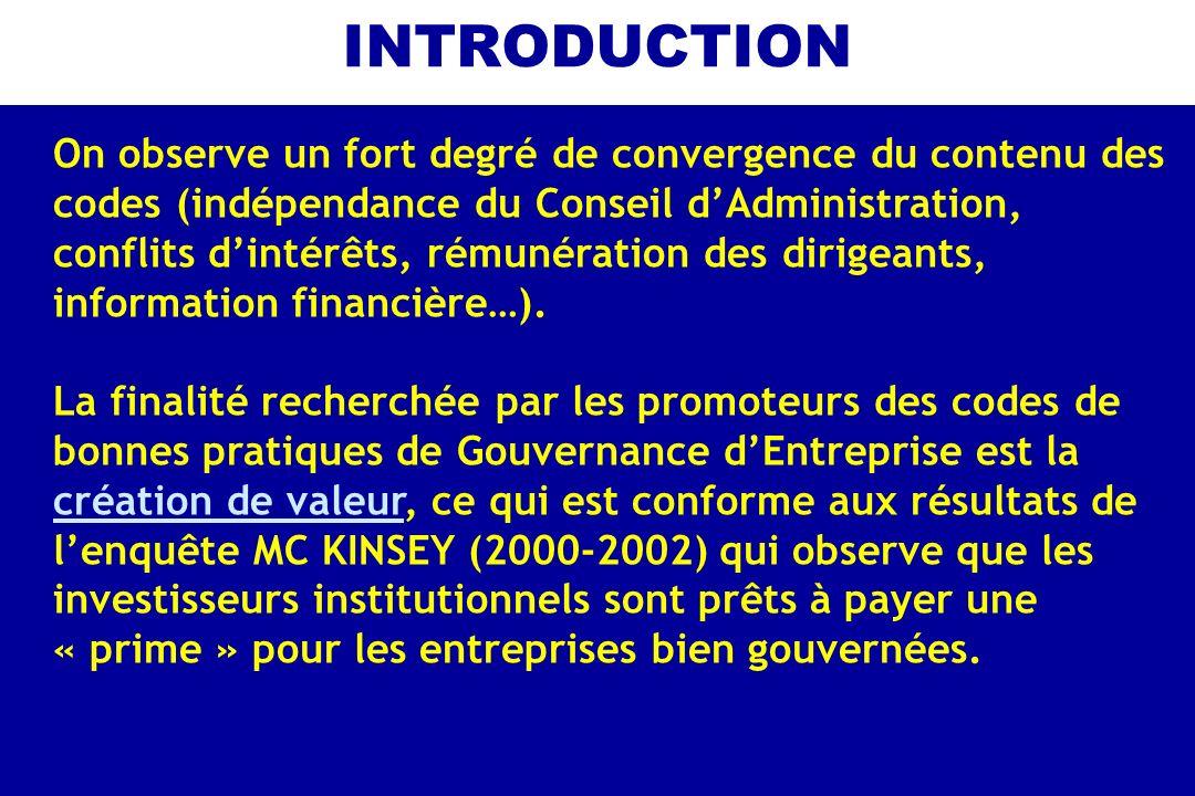 INTRODUCTION On observe un fort degré de convergence du contenu des codes (indépendance du Conseil dAdministration, conflits dintérêts, rémunération d