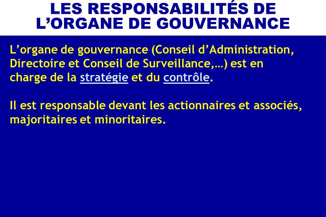 LES RESPONSABILITÉS DE LORGANE DE GOUVERNANCE Lorgane de gouvernance (Conseil dAdministration, Directoire et Conseil de Surveillance,…) est en charge