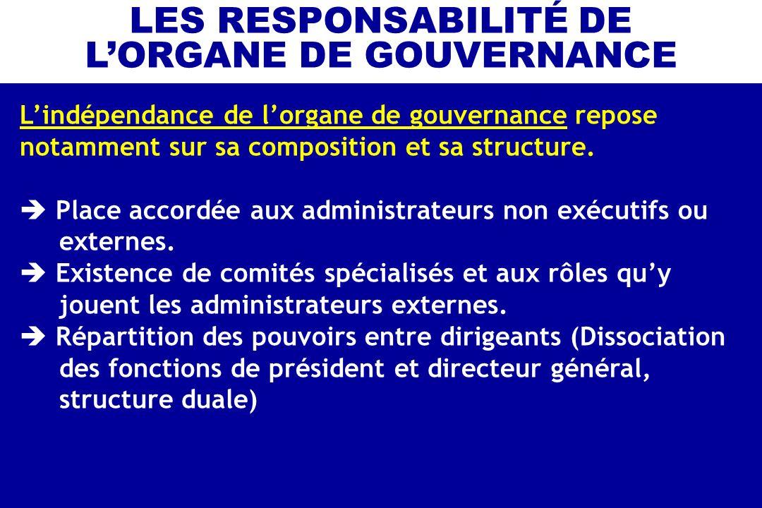 Lindépendance de lorgane de gouvernance repose notamment sur sa composition et sa structure. Place accordée aux administrateurs non exécutifs ou exter