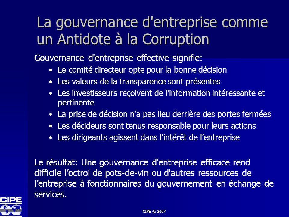 CIPE © 2007 La gouvernance d'entreprise comme un Antidote à la Corruption Gouvernance d'entreprise effective signifie: Le comité directeur opte pour l