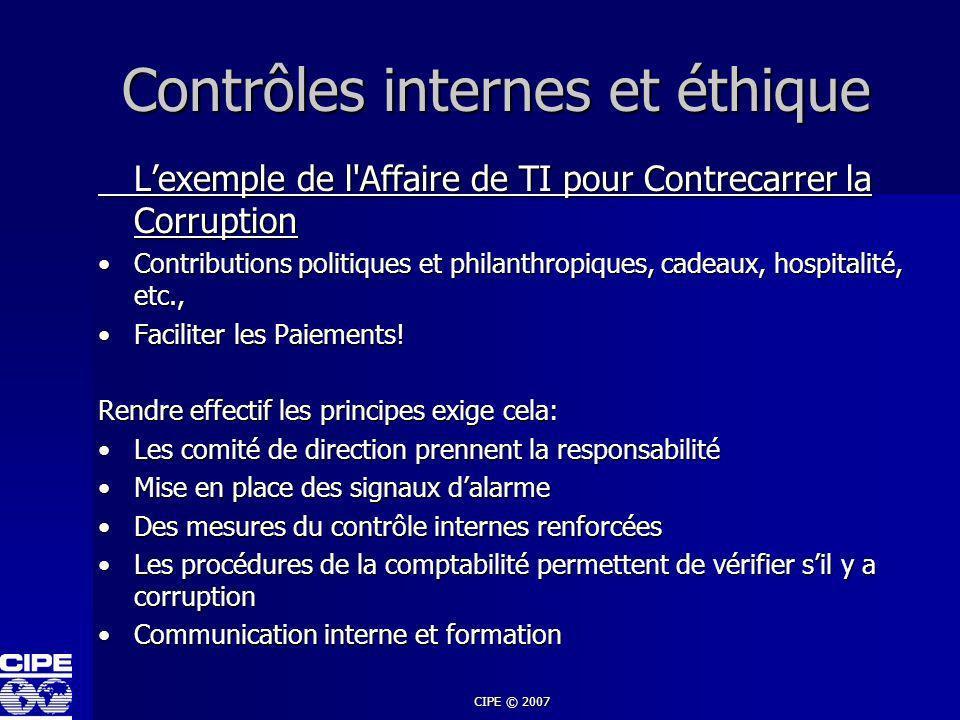 CIPE © 2007 Contrôles internes et éthique Lexemple de l'Affaire de TI pour Contrecarrer la Corruption Contributions politiques et philanthropiques, ca