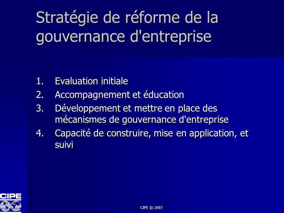CIPE © 2007 Stratégie de réforme de la gouvernance d'entreprise 1.Evaluation initiale 2.Accompagnement et éducation 3.Développement et mettre en place