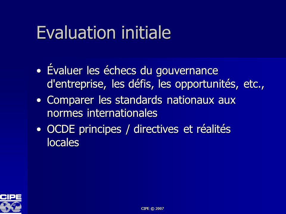 CIPE © 2007 Evaluation initiale Évaluer les échecs du gouvernance d'entreprise, les défis, les opportunités, etc.,Évaluer les échecs du gouvernance d'