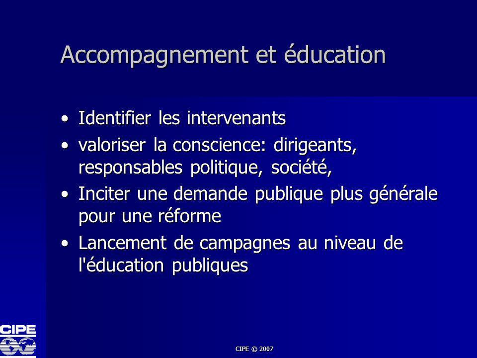 CIPE © 2007 Accompagnement et éducation Identifier les intervenantsIdentifier les intervenants valoriser la conscience: dirigeants, responsables polit