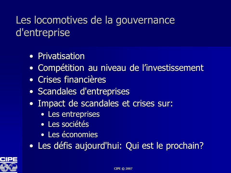 CIPE © 2007 Gouvernance d entreprise Éthique des affaires Les VALEURS TransparenceJusticeJustificatifResponsabilité Guide pour le comportement Structure de prise de décision