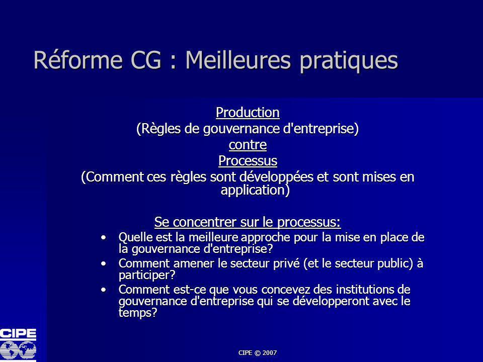 CIPE © 2007 Réforme CG : Meilleures pratiques Production (Règles de gouvernance d'entreprise) contreProcessus (Comment ces règles sont développées et