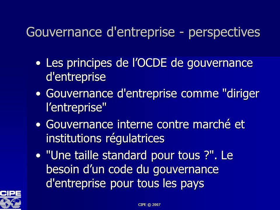 CIPE © 2007 Gouvernance d'entreprise - perspectives Les principes de lOCDE de gouvernance d'entrepriseLes principes de lOCDE de gouvernance d'entrepri