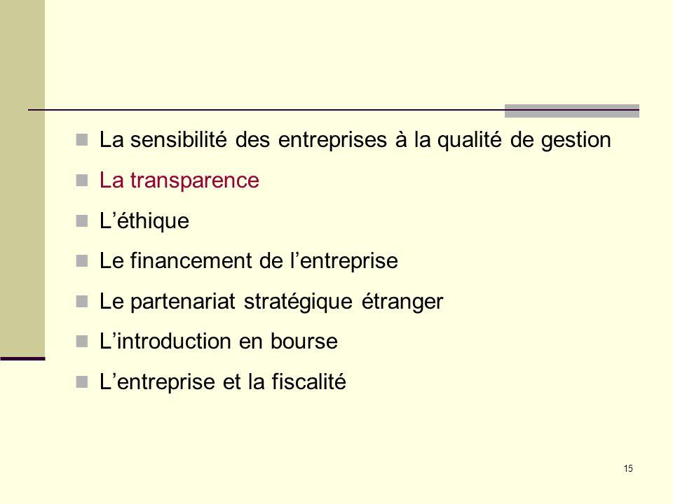 15 La sensibilité des entreprises à la qualité de gestion La transparence Léthique Le financement de lentreprise Le partenariat stratégique étranger Lintroduction en bourse Lentreprise et la fiscalité