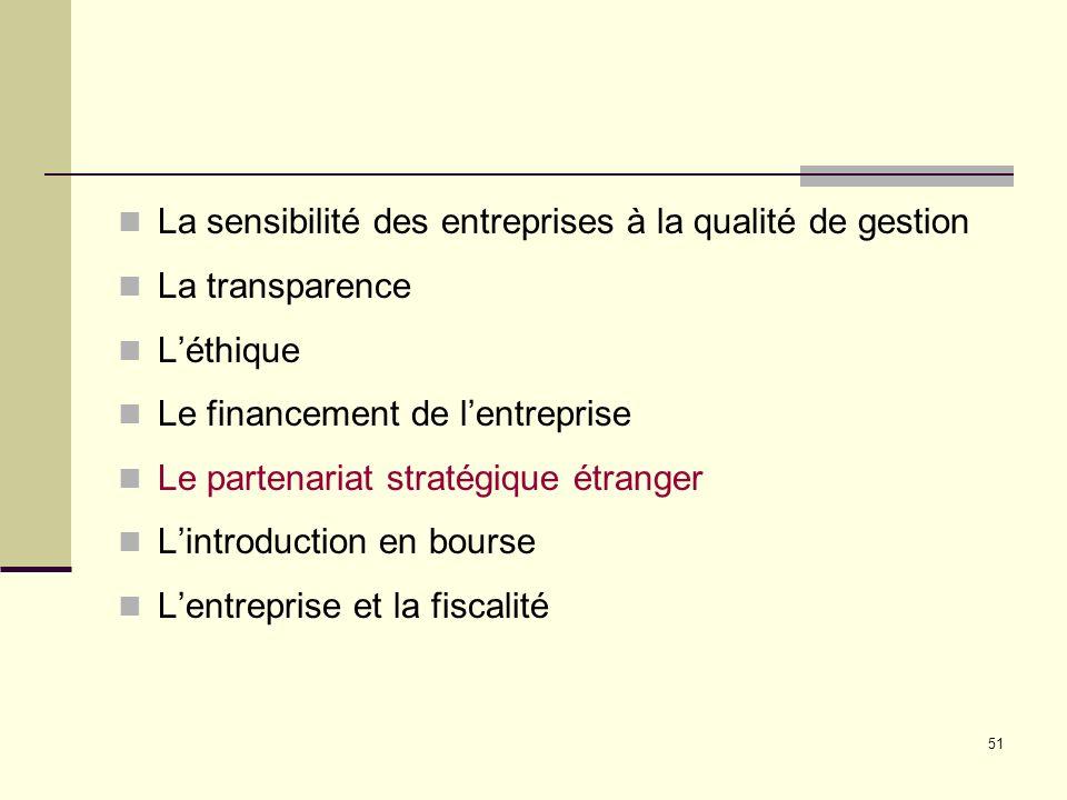 51 La sensibilité des entreprises à la qualité de gestion La transparence Léthique Le financement de lentreprise Le partenariat stratégique étranger Lintroduction en bourse Lentreprise et la fiscalité