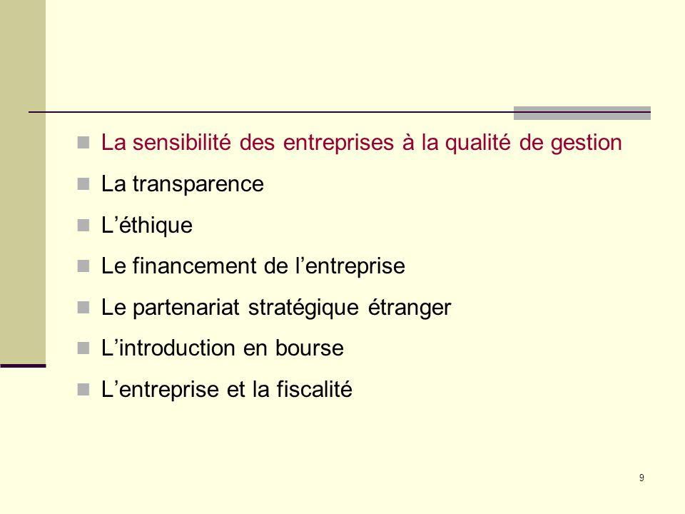 9 La sensibilité des entreprises à la qualité de gestion La transparence Léthique Le financement de lentreprise Le partenariat stratégique étranger Lintroduction en bourse Lentreprise et la fiscalité